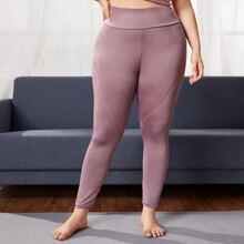 Leggings y pantalones deportivos de talla grande Ribete en contraste Liso
