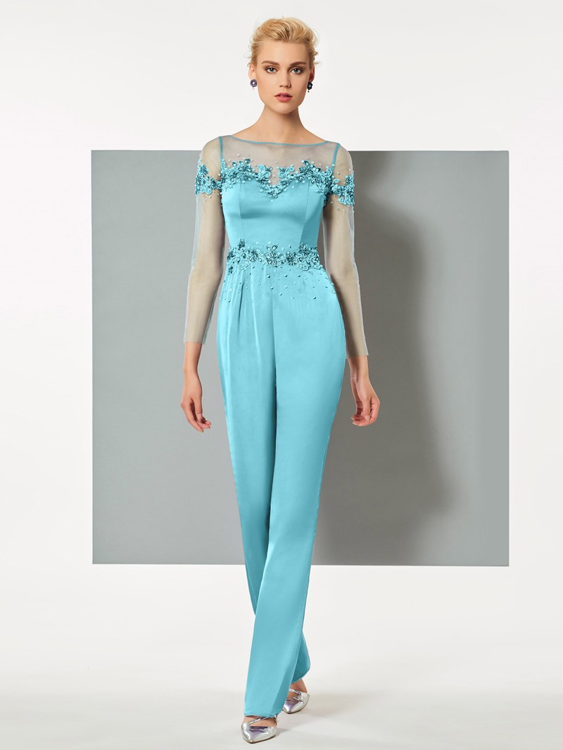 Ericdress Sheath Long Sleeve Applique Ankle Length Prom Jumpsuit
