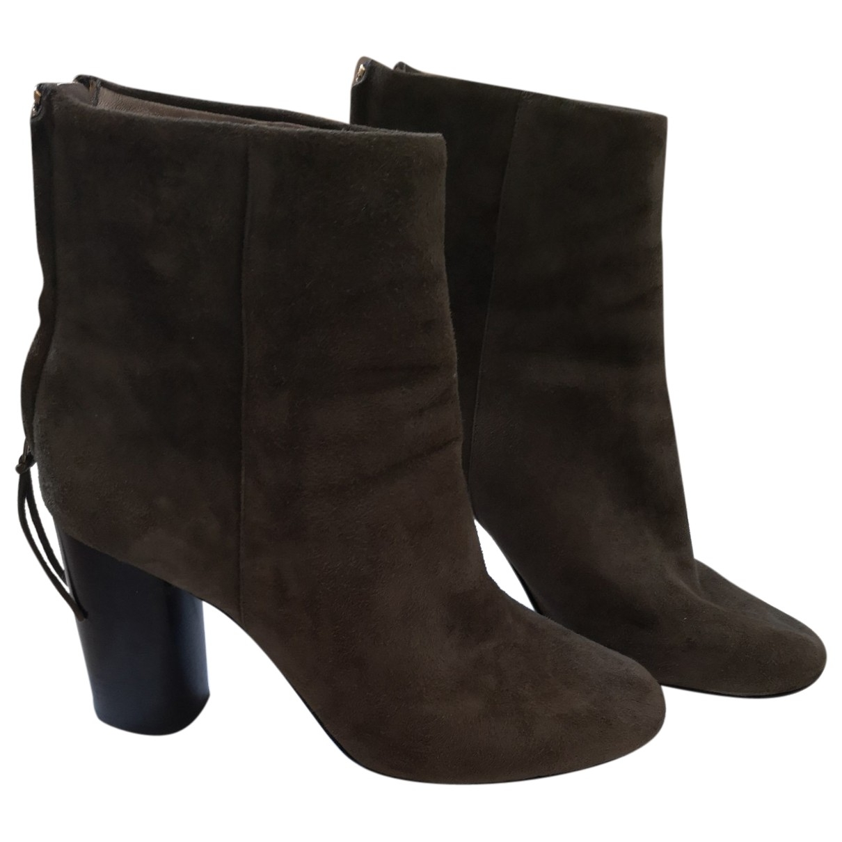 Isabel Marant Garett Khaki Leather Ankle boots for Women 41 EU