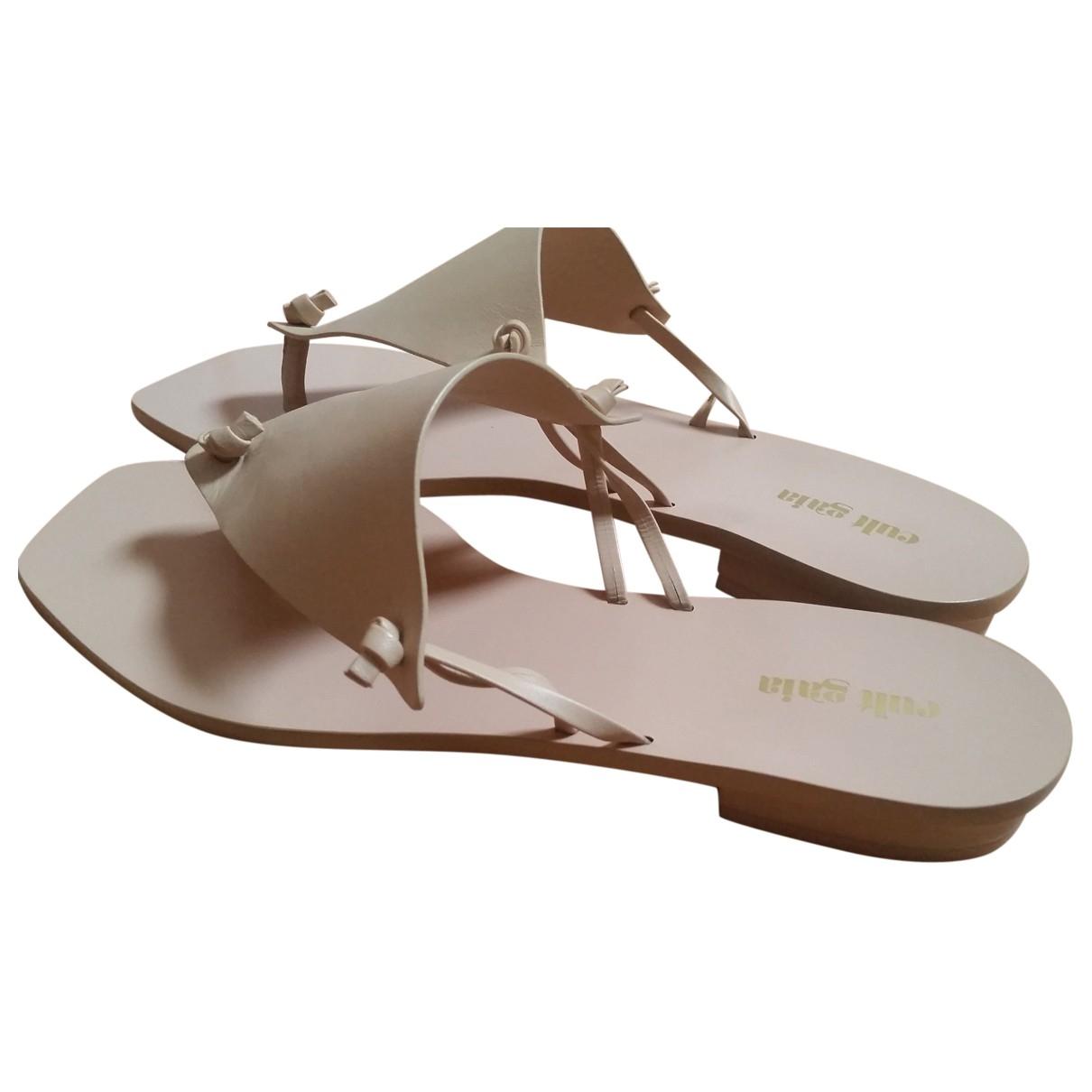 Cult Gaia \N Beige Leather Sandals for Women 41 EU