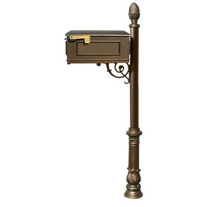 LM-703-LPST-BZ Lewiston Mailbox post system with ornate base and pineapple finial  (no address plates or