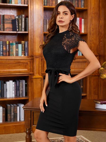 YOINS Black Lace Insert Patchwork Stand Collar Dress