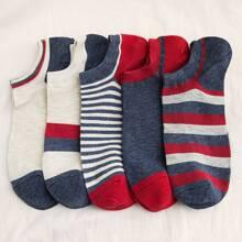 5 Paare Herren Socken mit Streifenmuster
