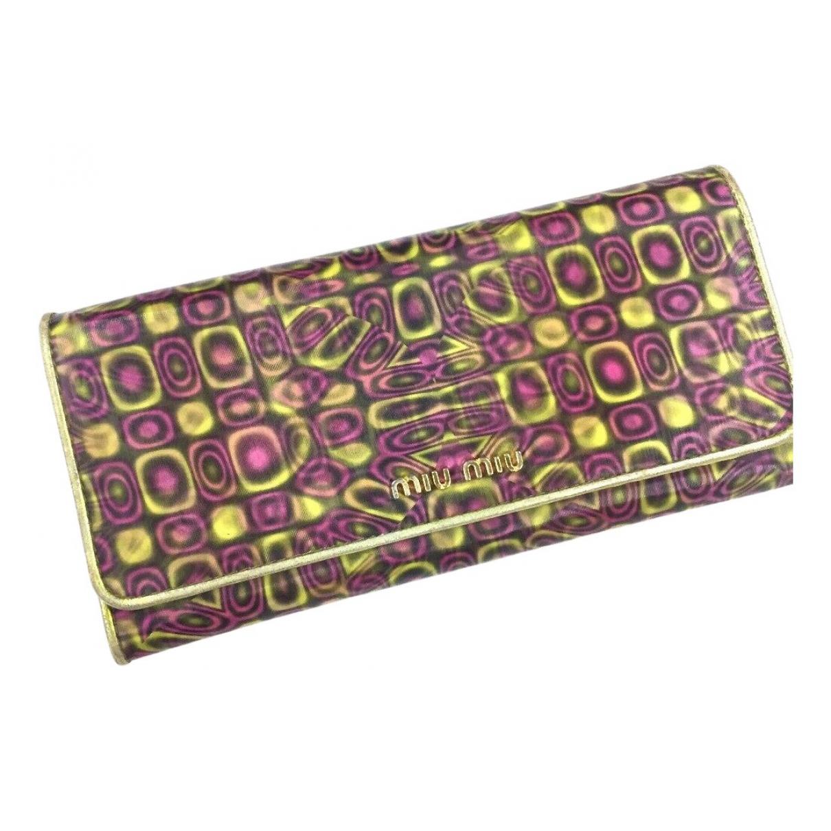 Miu Miu - Portefeuille   pour femme en toile - multicolore