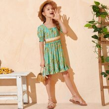 Girls Botanical Print Shirred Back Frill Trim Dress
