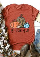 It's Fall Y'all Pumpkin T-Shirt Tee - Brick Red
