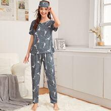 3 Stuecke Schlafanzug Set mit Delphin Muster und Augenmaske