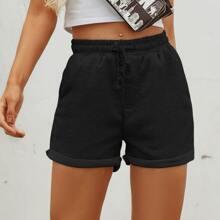 Shorts track bajo de doblez de cintura con cordon