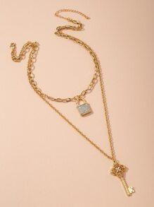Halskette mit Schluessel & Sperren Dekor