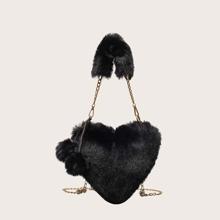 Herz formige Tasche mit Pompons Anhaenger und Kette