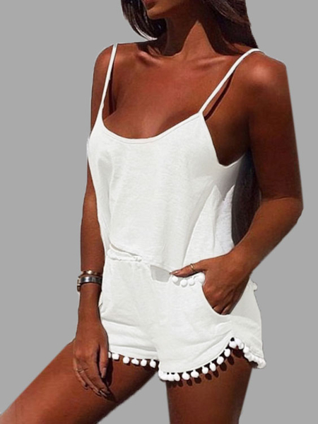 Yoins White Casual Sport Sleeveless Top and Elastic Waist Short Co-ord with Pom Pom Details