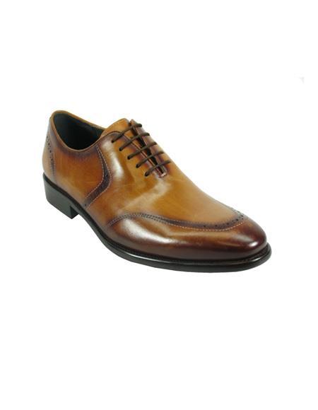 Mens Lace-Up Shoes by Carrucci - Cognac
