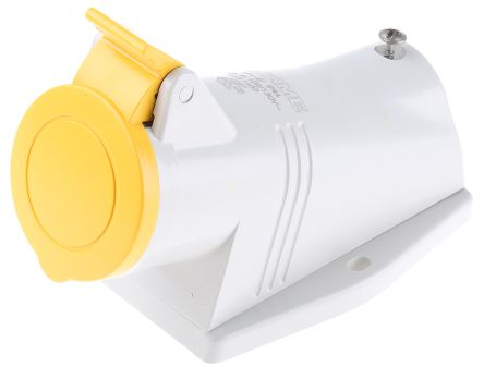 RS PRO IP44 Yellow Wall Mount 2P+E Right Angle Industrial Power Socket, Rated At 16.0A, 110.0 V