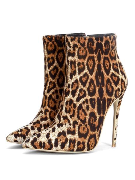 Milanoo Botines de mujer Punta puntiaguda Estampado de leopardo Tacon de aguja Micro Suede Botines de tacon alto superior
