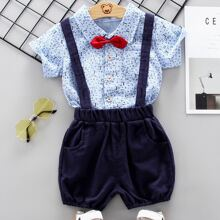 Toddler Boys Letter Graphic Bow Shirt With Suspender Shorts