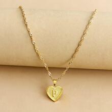 Letter Design Heart Charm Necklace