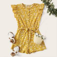 Girls Ruffle Armhole Ditsy Floral Belted Romper