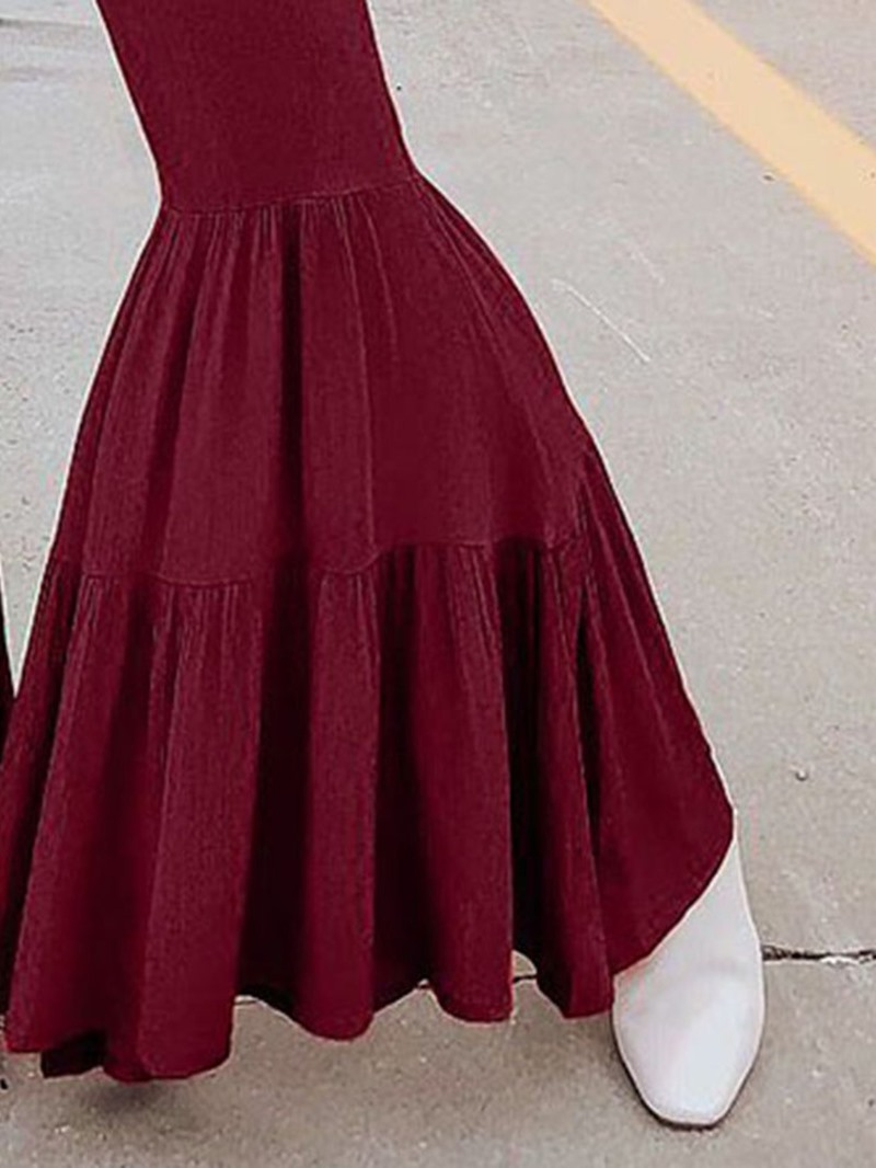 Ericdress Dressy Plain Pleated Bellbottoms High Waist Jumpsuit