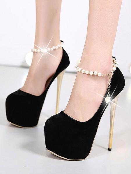 Milanoo Black High Heels Suede Platform Almond Pearls Ankle Strap Pumps Women Sexy Shoes