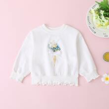 Toddler Girls Contrast Lace Floral Print Sweatshirt