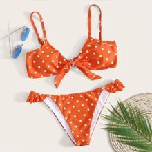 Polka Dot Ruffle Tanga Bikini Swimsuit