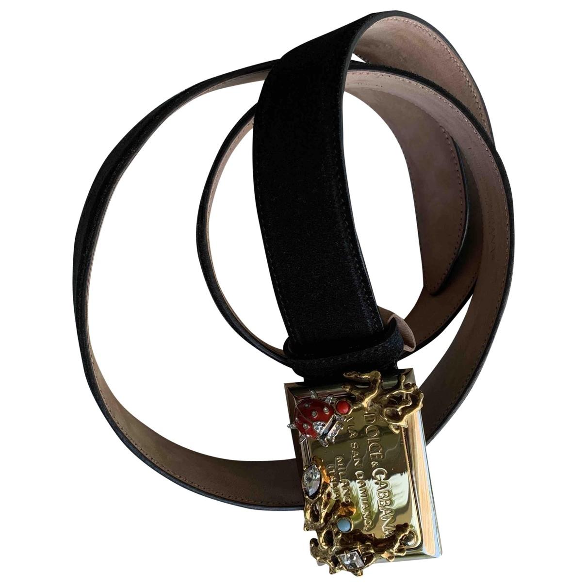 Dolce & Gabbana - Ceinture   pour femme en suede - noir