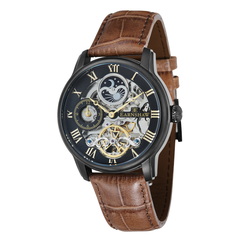 Thomas Earnshaw Mens Longitude ES-8006-10 Black Leather Automatic Self Wind Fashion Watch
