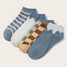 4 Paare Socken mit Streifen