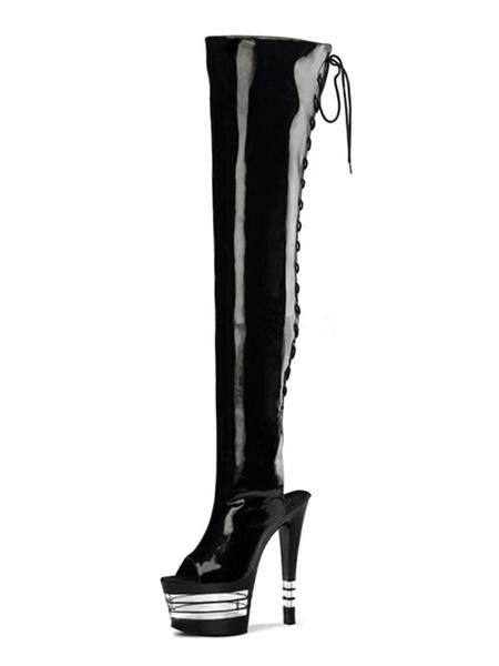 Milanoo Botas de tacon alto sexy Peep Toe con cordones Tacon de aguja Rave Club Botas altas de muslo negro Zapatos de stripper