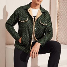 Men Flap Detail Contrast Faux Shearling Checked Jacket
