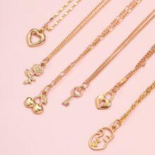 6pcs Heart Charm Necklace