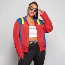 Plus Colorblock O-ring Zip Up Wind Jacket