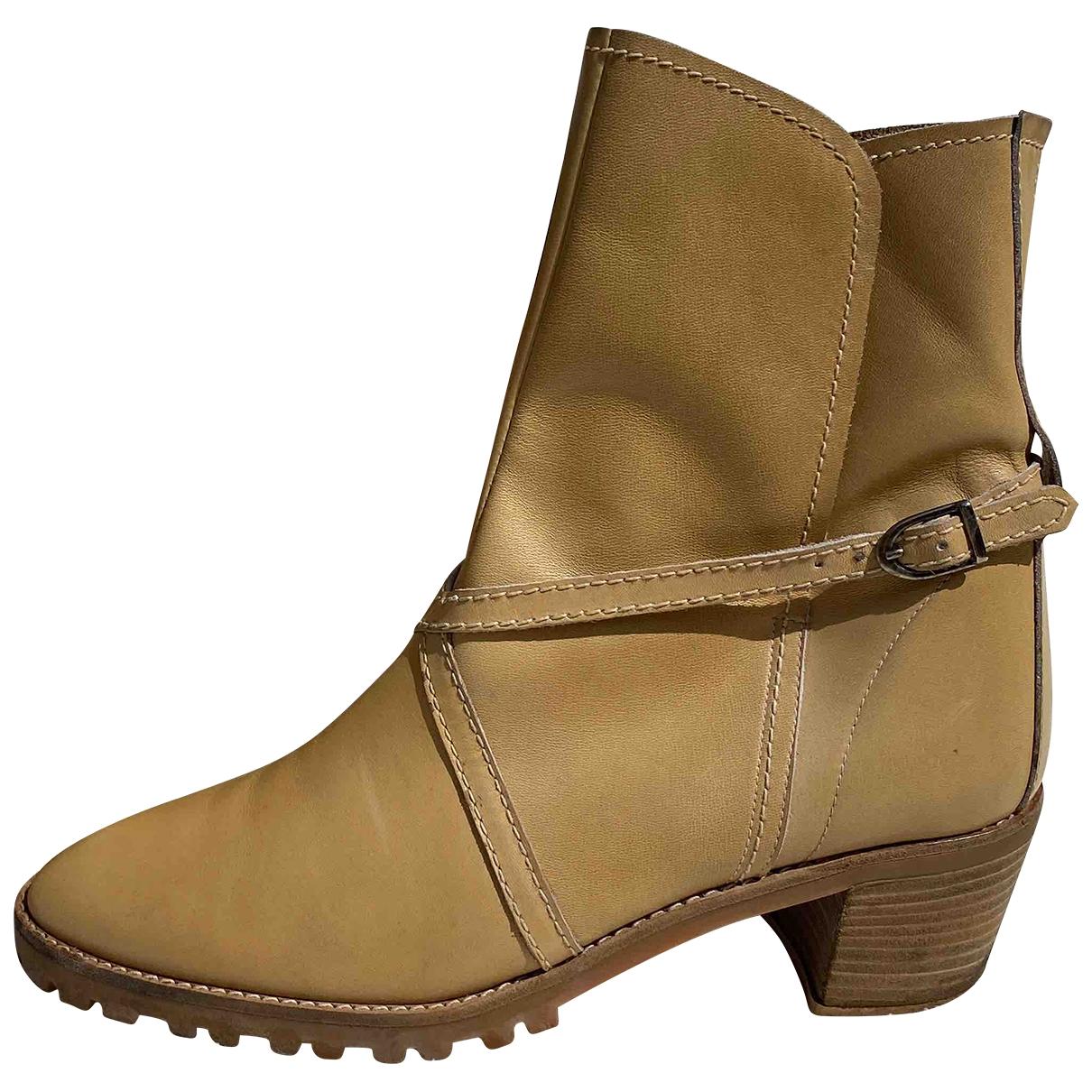 Geoffrey Beene - Boots   pour femme en cuir - camel