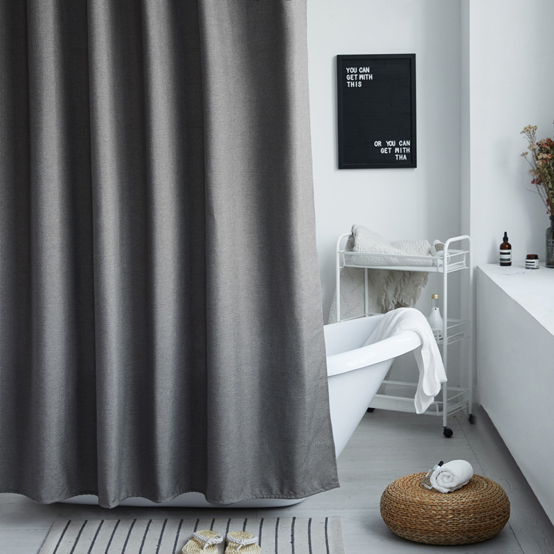 Waterproof and Mildewproof Thick Linen Solid Color Shower Curtain with Free Hooks