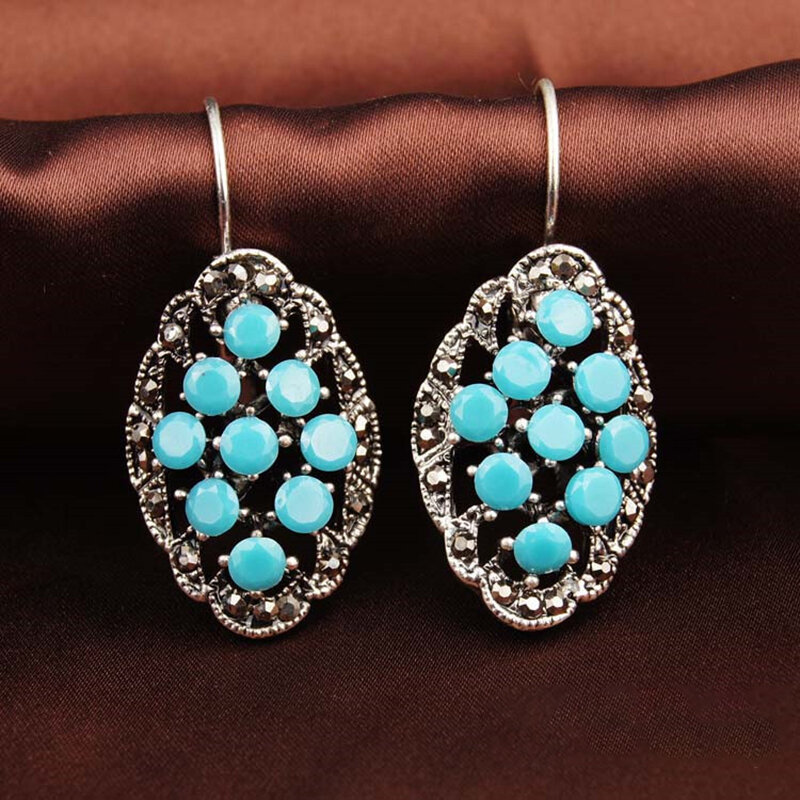 Vintage Metal Hollow Oval Earrings Temperament Water Lake Blue Round Bead Pendant Earrings