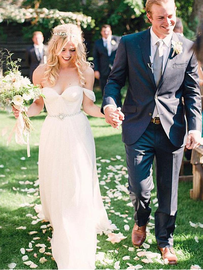 Ericdress Off the Shoulder Beading Beach Wedding Dress