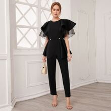 Button Front Layered Butterfly Sleeve Jumpsuit