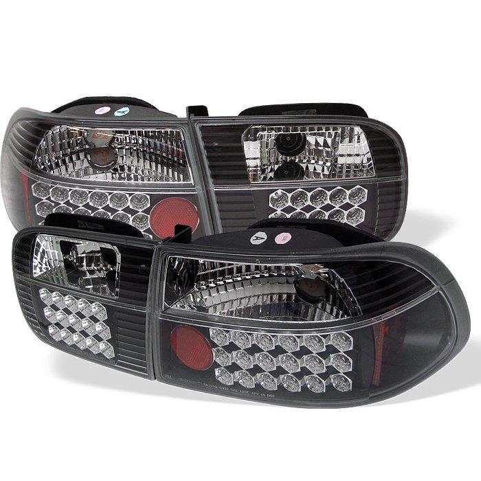 Spyder 2 4Dr LED Black Tail Lights Honda Civic 92-95