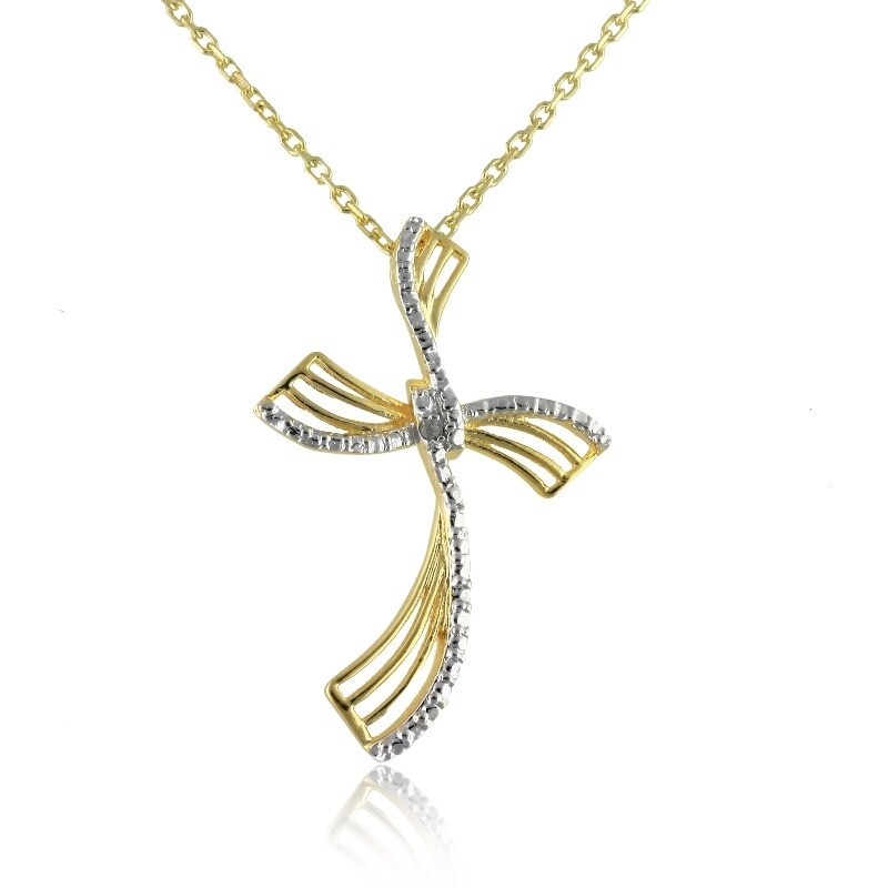 Sterling Silver Diamond-accent 18-inch Cross Pendant Necklace (19 Inch - Gold - White/Two-Tone)