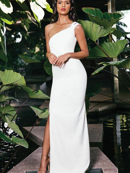 Milanoo White Maxi Dress One Shoulder Party Dress Sleeveless Shaping Summer Dress