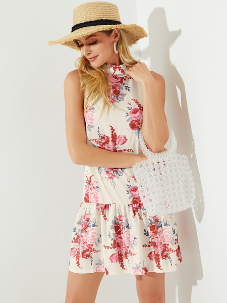 YOINS White Backless Design Random Floral Print Halter Sleeveless Dress
