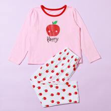 Toddler Girls Apple & Letter Graphic PJ Set