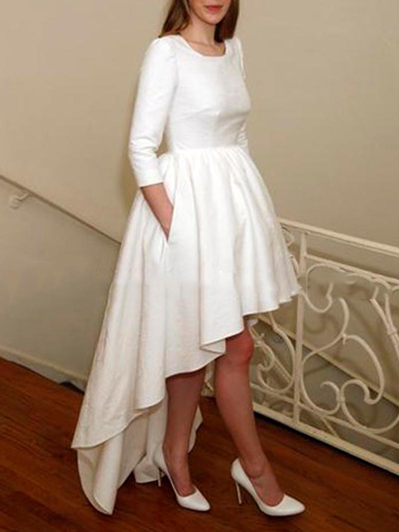 Ericdress Pockets Sleeves High Low Beach Wedding Dress