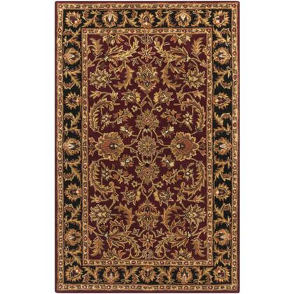 AWOC2001-69 6' x 9' Rug  in Dark Brown and Mustard and Black and