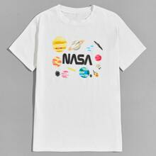 Guys Earth & Letter Graphic Tee
