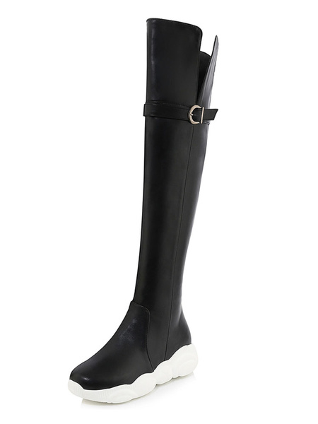 Milanoo Over The Knee Boots Womens PU Round Toe Flat Heel Thick Soles Casual Boots