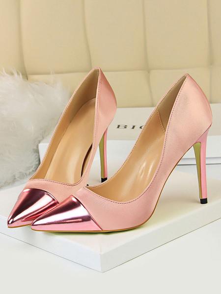 Milanoo Red High Heels Satin Pointed Toe Patchwork Stiletto Heel Pumps For Women