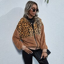 Leopard Drop Shoulder Hooded Teddy Jacket