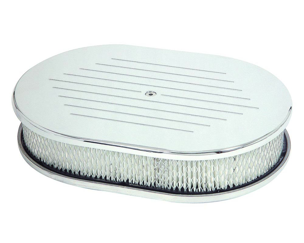 Mr. Gasket Oval Air Cleaner - Chromed Aluminum with Ball Milled Top