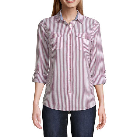 St. John's Bay Womens Long Sleeve Classic Fit Button-Down Shirt, Small , Red